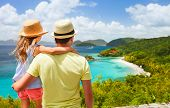 stock photo of virginity  - Family of father and daughter enjoying aerial view of picturesque Trunk bay on St John island - JPG