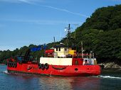 picture of sloop  - Fishing boat upon river photographed at Fowey in Cornwall - JPG