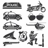 picture of armored car  - set of silhouette police icons in white background - JPG