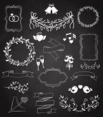 image of ring  - Wedding chalkboard Banners and Ribbons set with Arrow  hearts  frames  wreaths  swags  bells  birds  champagne  floral border  banner  ribbon  and rings   vector outline sketches - JPG