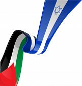 picture of israel israeli jew jewish  - Israel and palestine flag on white background - JPG