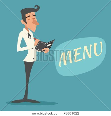 Vintage Waiter Garcon Accepts Order Symbol Restaurant Menu Icon on Stylish Background Retro Cartoon