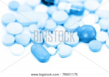 Different medical tablets in monochrome color