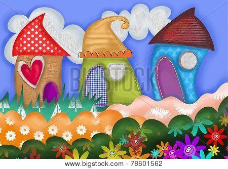 Village Street Collage