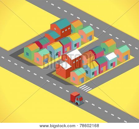 Residential and small city in a isometric style vector