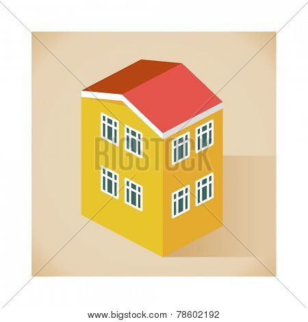 back side Apartment vector isometric style