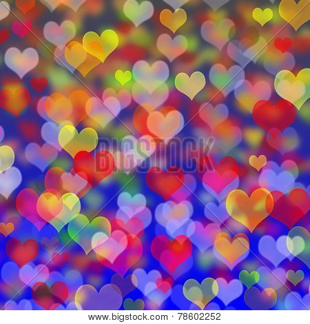 Festive Background Of Hearts For Valentine's Day