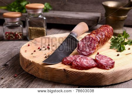 Salami And Knife