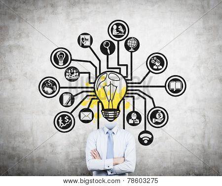 Businessman With Lightbulb Head