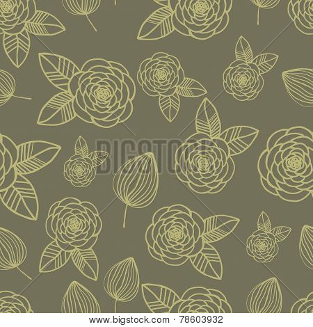Seamless pattern rose and leaf hand drawn