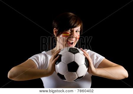 Young Spanish Female Supporter Hold Ball, Isolated On Black