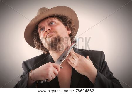 Shaving Man With A Hat