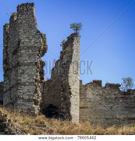Ruins Of Byzantine Walls In Istanbul, Turkey