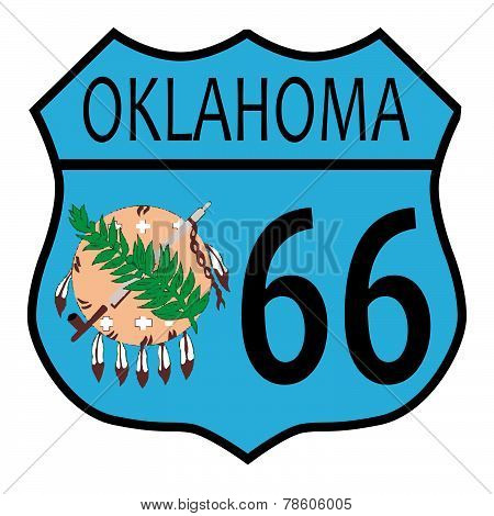 Route 66 Oklahoma Sign And Flag