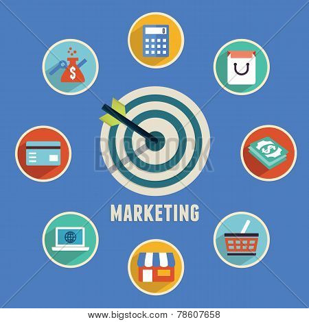 Concept Of Marketing.target Marketing With Icons