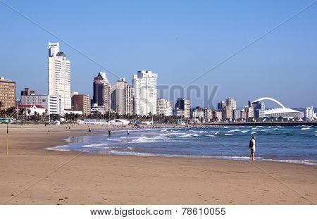 South Beach Against City Skyline In Durban