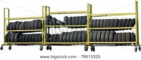 Car Tires Stacked On The Rack