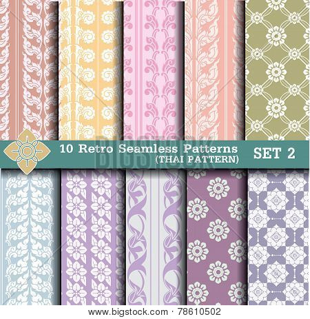 10 Retro Seamless Patterns.thai pattern