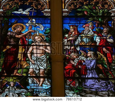 Baptism Of Jesus By Saint John - Stained Glass In Burgos Cathedral