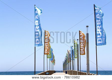Pomotional Banners On Empty Pier On North Beach