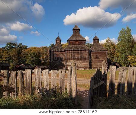 Wooden old house in Kiev museum