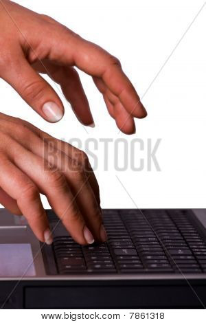 Woman Working On Laptop Keyboard
