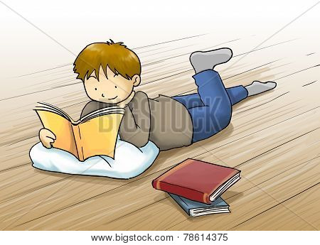 Kid reading a book cartoon illustration