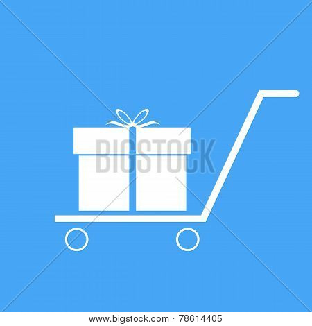 Shopping Trolley With Gift Box. Vector Illustration.