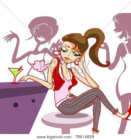 fashion girl bored in night club illustration