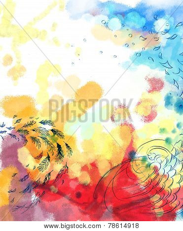 Abstract dreamy bird fly colorful background