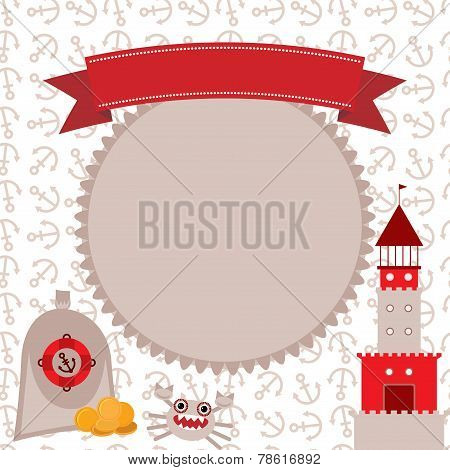 Vintage scrap nautical card cute sea objects collection Red and gray. vector.