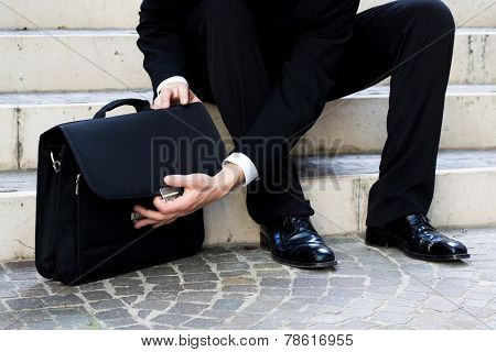 The Business Man Open The Bag
