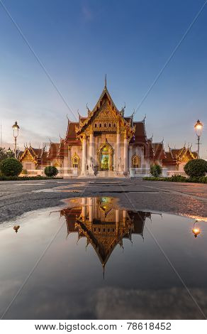 Wat Benjamaborphit or Marble Temple, water reflexion, Bangkok Thailand