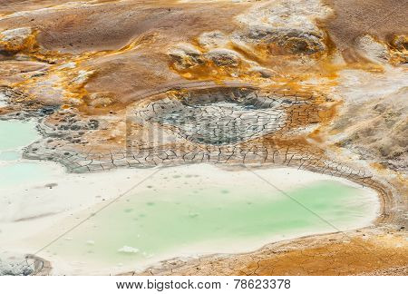 Leirhnjukur is the hot geothermal pool at Krafla area, Iceland. The area around the lake is multicolored and cracked.