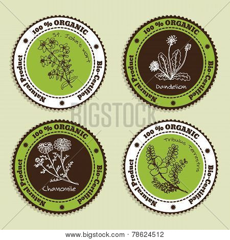 Set of Natural Organic Product badges