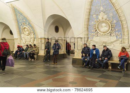 Metro station Taganskaya, Russia. Moscow Metro carries over 7 million pas