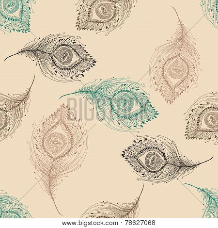 Peacock feather seamless pattern on the background.