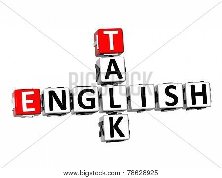 3D Crossword English Talk On White Background