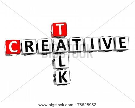 3D Crossword Creative Talk On White Background