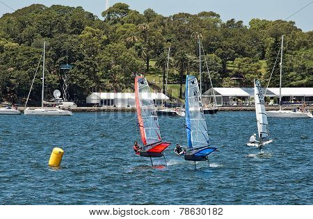 Moth hydrofoils on Sydney Harbour