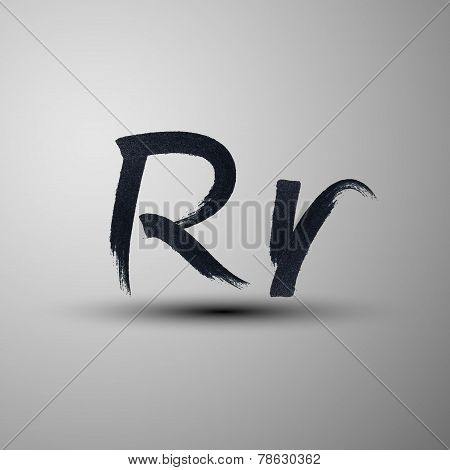 vector calligraphic hand-drawn marker or ink letter R