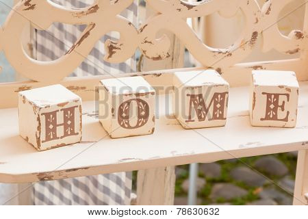Wooden Cube Decoration: Home Letters
