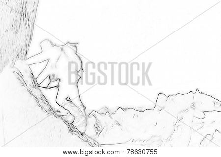 Male climber, Rock-climbing sport. Stylized silhouette with outline sketch effect.