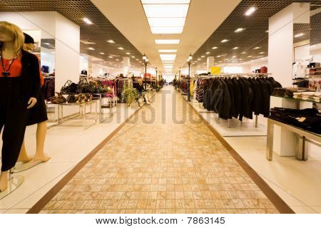 Big Shop Of Clothes, Autumn Clothes And Collection Of Female Bag