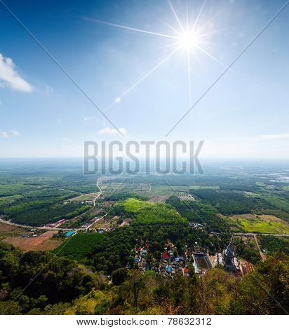 View to the tropical cultivated valley from the temple of Tiger Cave, Krabi, Thailand