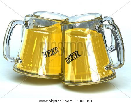 4 beer glasses