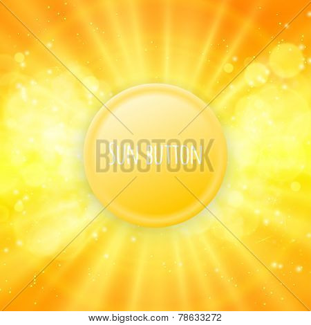 Shiny sun button vector for your text