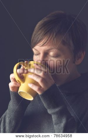Beautiful Woman Drinking Hot Chocolate In The Morning