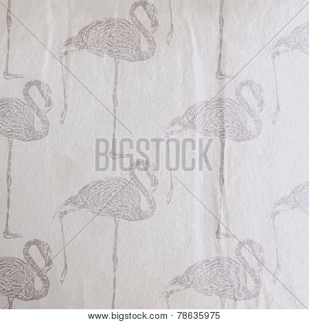 vector vintage illustration of a flamingo pattern on the old wri