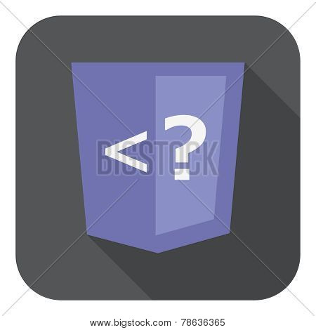 illustration of violet shield with php programming language question mark, isolated web site develop